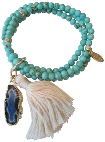 Ettika Heart and Soul Blue Beaded Tassel Stone Stretch Bracelet