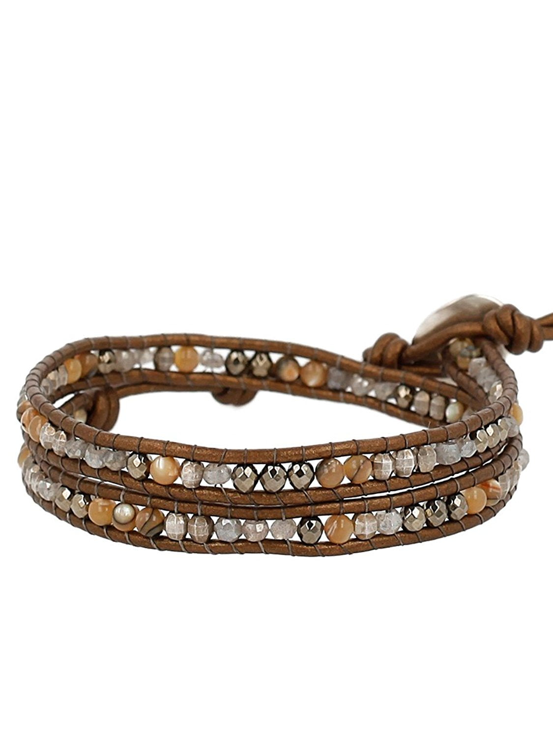 Chan Luu Sterling Silver with Pyrite Stone Mix Double Wrap Brown Leather Bracelet