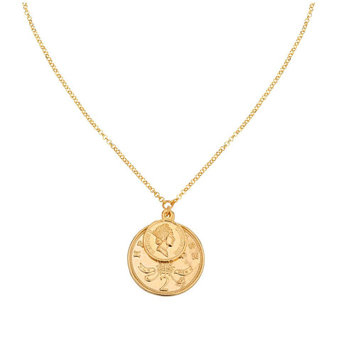Shashi Women's Double Coin 18K Gold Plated Pendant Necklace