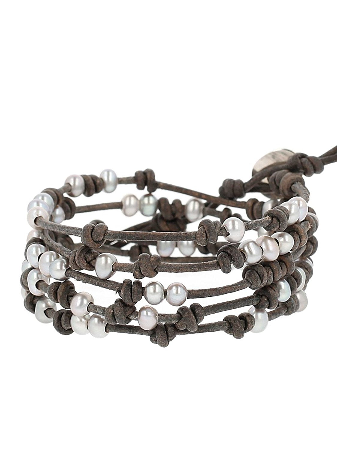 Chan Luu Grey Freshwater Cultured Pearls On A Natural Grey Brown Knotted Leather Wrap Bracelet