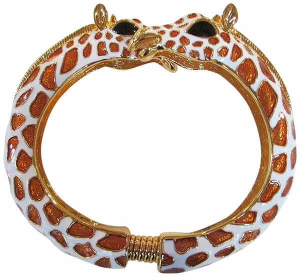 Kenneth Jay Lane Tan/White Giraffe Enamel Bypass Bangle Bracelet