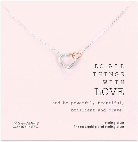 Dogeared Do All Things with Love Sterling Silver and Rose Gold Dip Linked Hearts Necklace