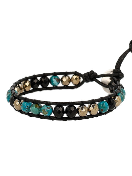 Chan Luu Onyx Semi Precious Stone Beaded Single Wrap Bracelet on Leather