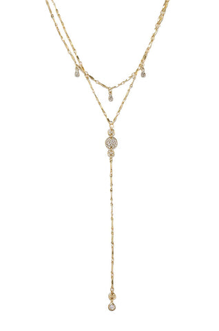 Ettika Women's Carmine Layered Gold & Crystal Lariat Necklace, Gold, One Size