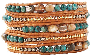 Chan Luu Compressed Turquoise Mix of Semi Precious Stones Leather Brown Wrap Bracelet