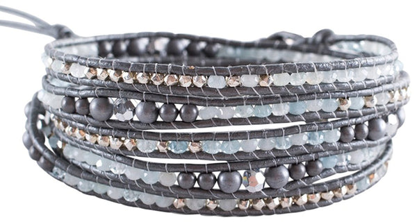 Chan Luu Silver Hematine and Aquamarine Crystals on a Grey Leather Wrap Bracelet