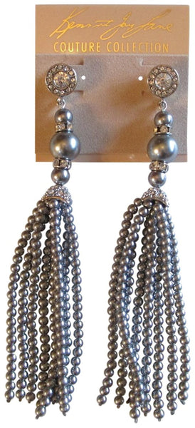 Kenneth Jay Lane Rhodium Plated Crystal Top with Faux Grey Pearl Tassel Drop Earrings
