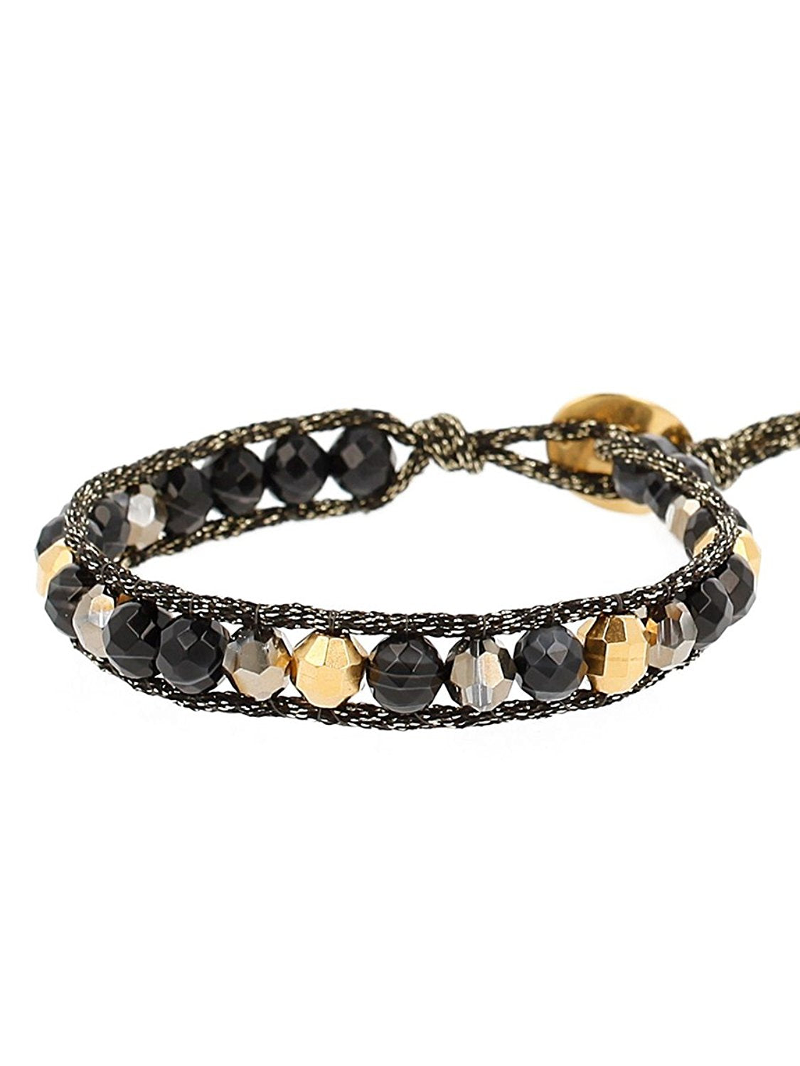 Chan Luu Black Semi Precious Stones and Gold Plated Accents Adjustable Bracelet