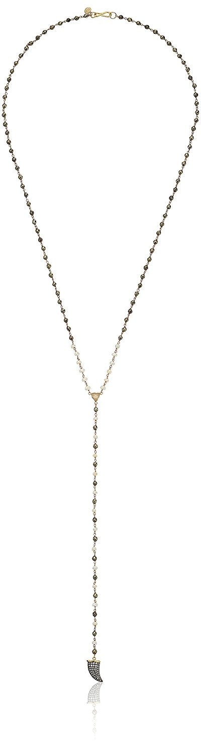 Tai Charm Beaded Pyrite Y-Shaped Necklace, 24""