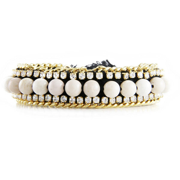 Ettika Firecracker Beaded Cream And Black Rhinestone Friendship Bracelet