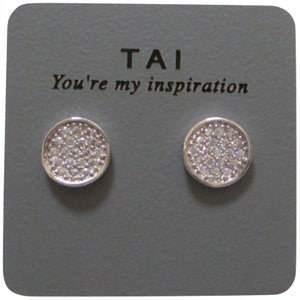 Tai Mini Disc Crystal Pierced Stud Earrings