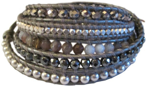 Chan Luu Grey Beaded Mix On Grey Leather Wrap Bracelet