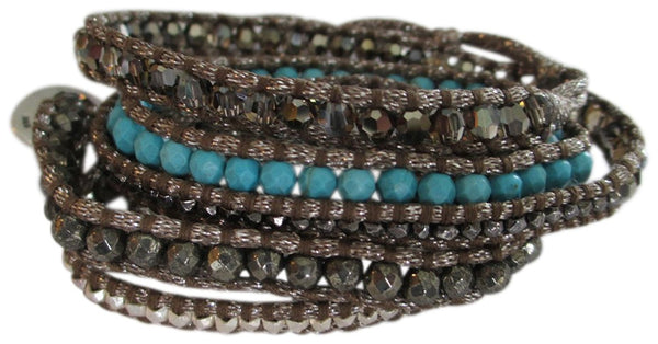 Chan Luu Semi Precious Turquoise And Silver Multi Wrap On Grey Shimmer Cord Bracelet