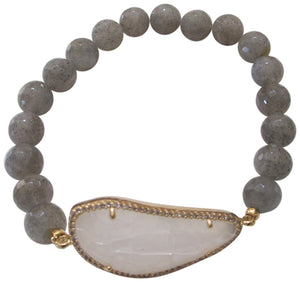 Tai 8MM Labradorite Elastic with Irregular Shaped Moon Glass Stone Bracelet