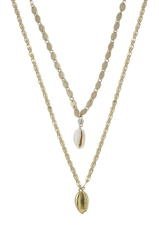 Ettika Double Cowrie Shell Layered Necklace Set Gold Tone