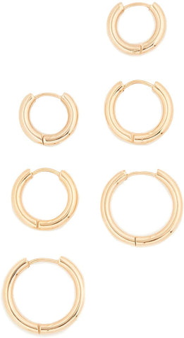 SHASHI Women's Triple Hoops Gold Plated Earrings