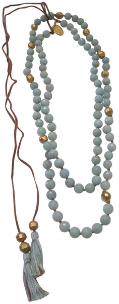 "Chan Luu Semi Precious Amazonite Long 41"" Tassel Necklace"