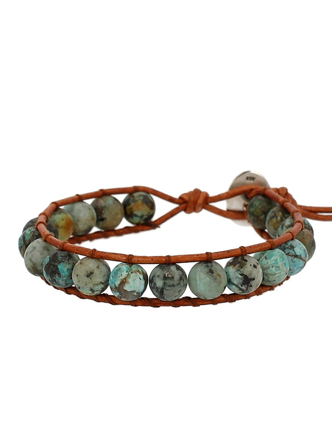 Chan Luu Matte African Turquoise Stone Beaded Single Wrap Bracelet on Leather
