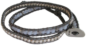 Chan Luu Sterling Silver with Blue Stone Mix Double Wrap Grey Leather Bracelet