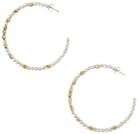 Chan Luu Large Silver Mix Gold Plated Nugget Hoop Earrings