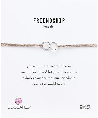 Dogeared Sterling Silver Friendship Double Linked Rings Taupe Silk Bracelet