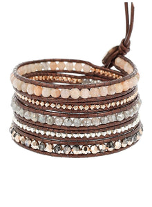 Chan Luu Sunstone Mix On Brown Tamba Leather Wrap Bracelet