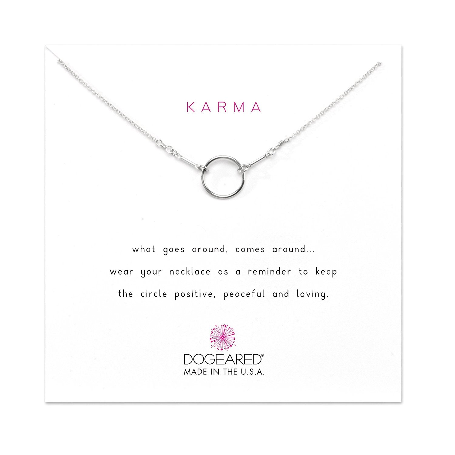Dogeared Sterling Silver Classic Original Karma Necklace