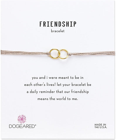 Dogeared Gold Dipped Friendship Double Linked Rings Taupe Silk Bracelet