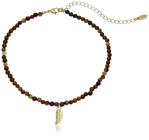 Ettika Too Ticklish Tiger's Eye and Gold Choker Necklace