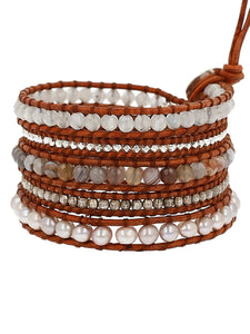 Chan Luu Pale Pink Freshwater Cultured Pearls and Semi Precious Stone Leather Wrap Bracelet