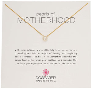 Dogeared Women's Pearls of.Motherhood, Small Button White Pearl Necklace