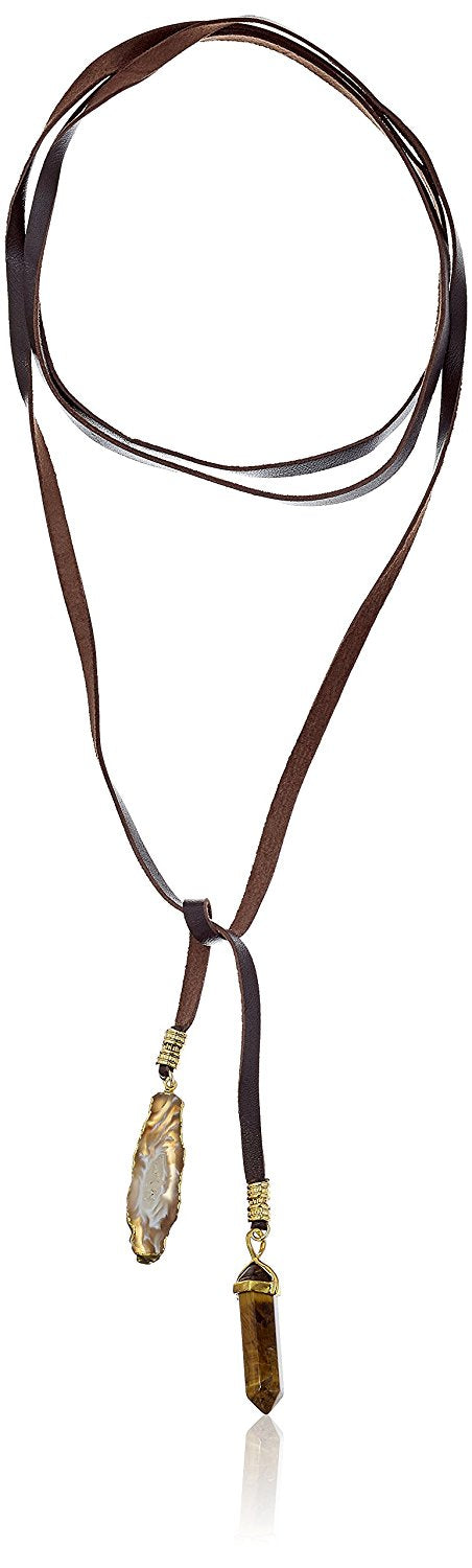 Ettika Mesmer Eyes Wrap Brown and Gold Choker Necklace