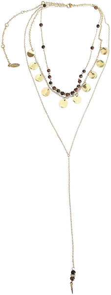 Ettika Dainty Multi Row Disc And Bead Gold Tone Chain Necklace