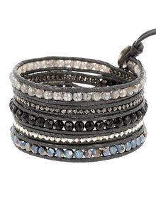 Chan Luu Onyx Mix On Gunmetal Grey Leather Wrap Bracelet