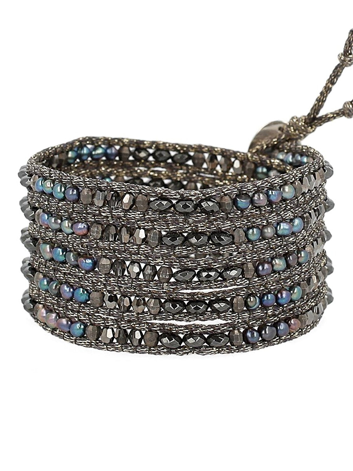 Chan Luu Semi Precious and Freshwater Cultured Pearl Peacock Blue Mix On Grey Metallic Silk Wrap Bracelet