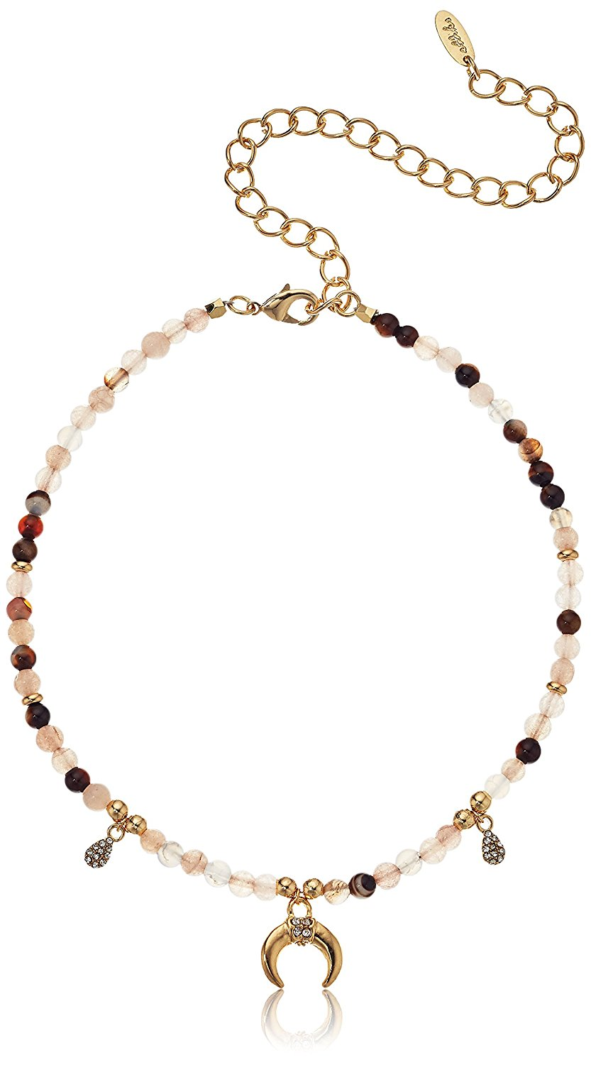 Ettika Magic in Botswana Agate with Gold Horn Choker Necklace