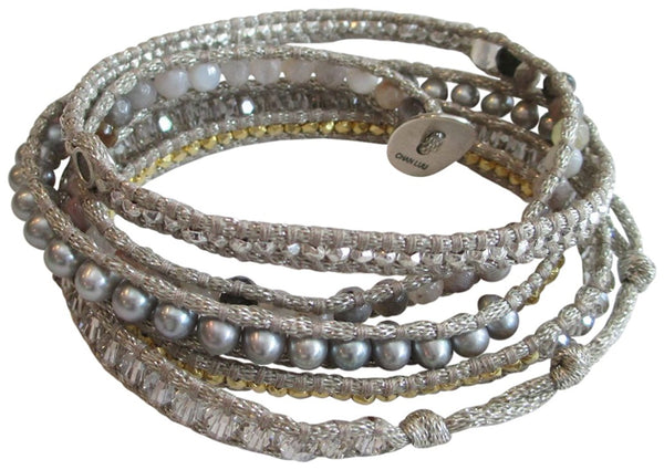 Chan Luu Semi Precious and Freshwater Cultured Pearl Mix On Grey Metallic Silk Wrap Bracelet