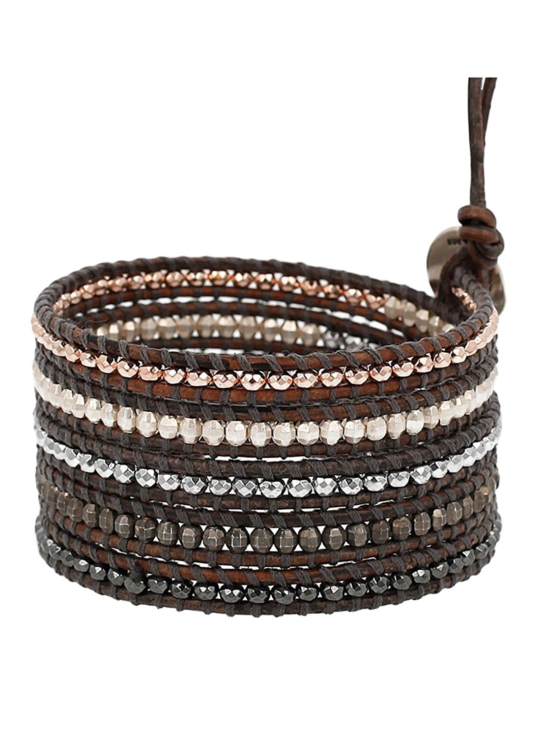 Chan Luu Natural Grey Mix of Semi Precious Stones and Nuggets Leather Wrap Bracelet