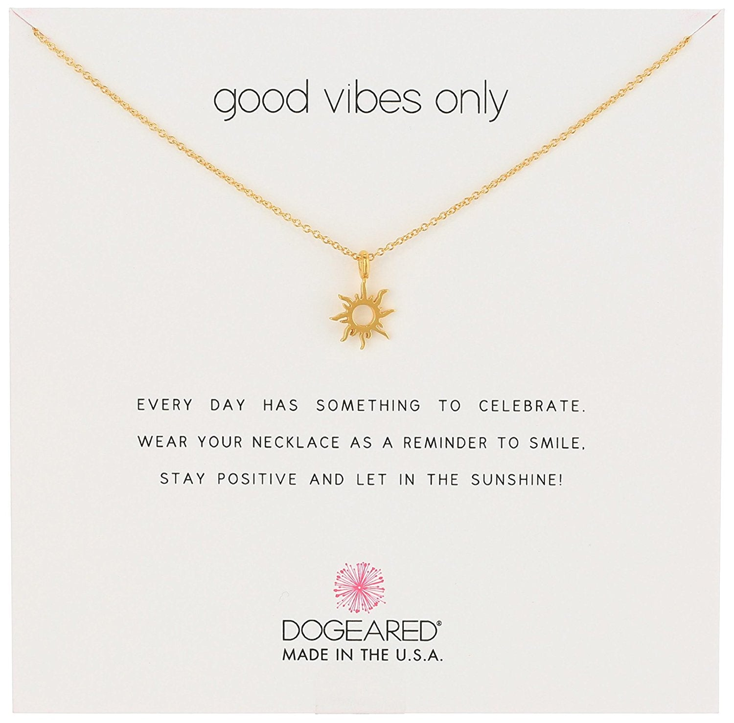 Dogeared Good Vibes Only Radiant Sun Necklace