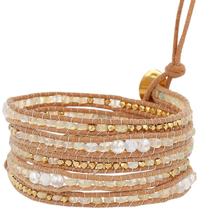 Chan Luu Opal Mystic Mix of Semi Precious Stones, Crystals and Nuggets Tan Leather Wrap Bracelet
