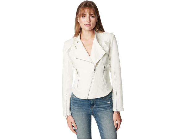 BLANKNYC Women's Fitted Cotton Moto Jacket Coat, White