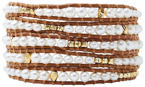 Chan Luu Graduated White Freshwater Cultured Pearl Wrap Bracelet