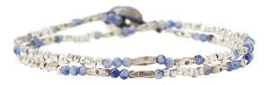 Chan Luu Sodalite And Etched Silver Double Wrap Bracelet