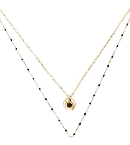 Chan Luu Black Enamel Bead And Onyx Pre-Layered Necklace