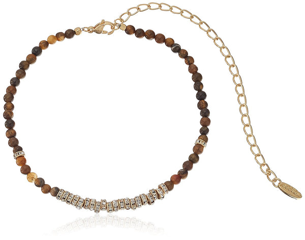 Ettika Crystal Overload in Tigers Eye and Gold Choker Necklace