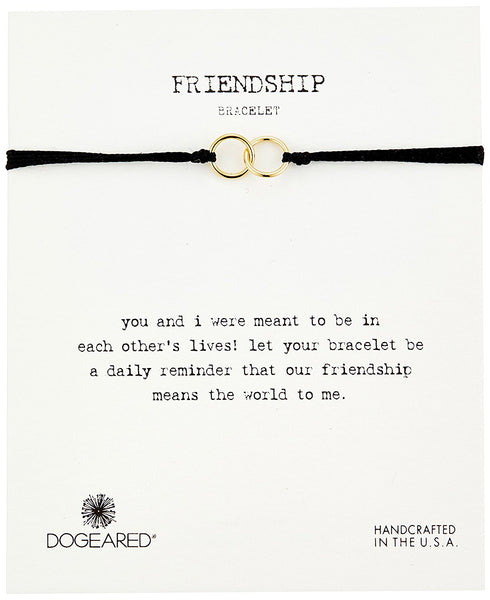 Dogeared Friendship Double Linked Rings Adjustable Bracelet