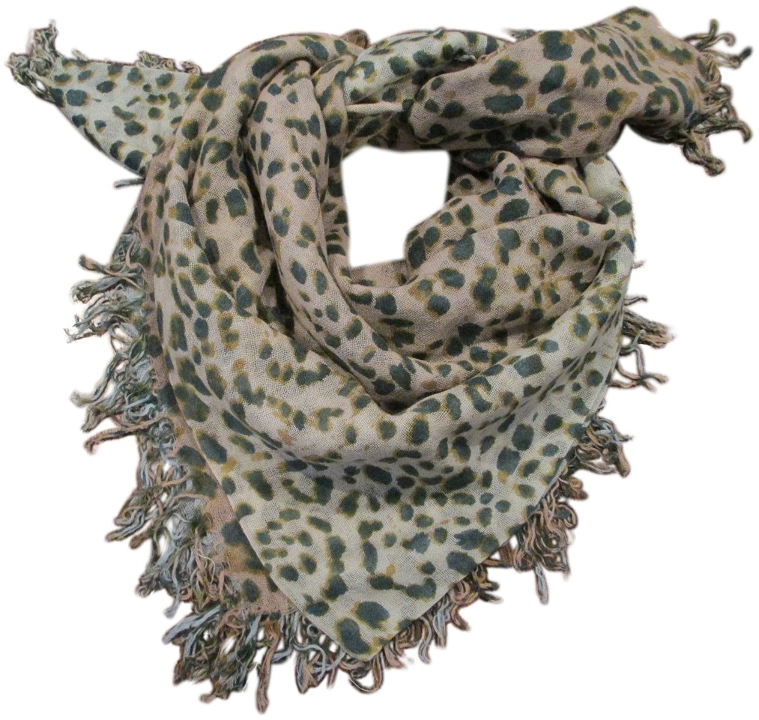 Chan Luu Lightweight Cashmere and Silk Blended Animal Print Wrap Scarf