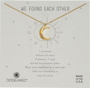 "Dogeared We Found Each Other Crescent Moon Gold Dipped Boxed 16""-18"" Necklace"