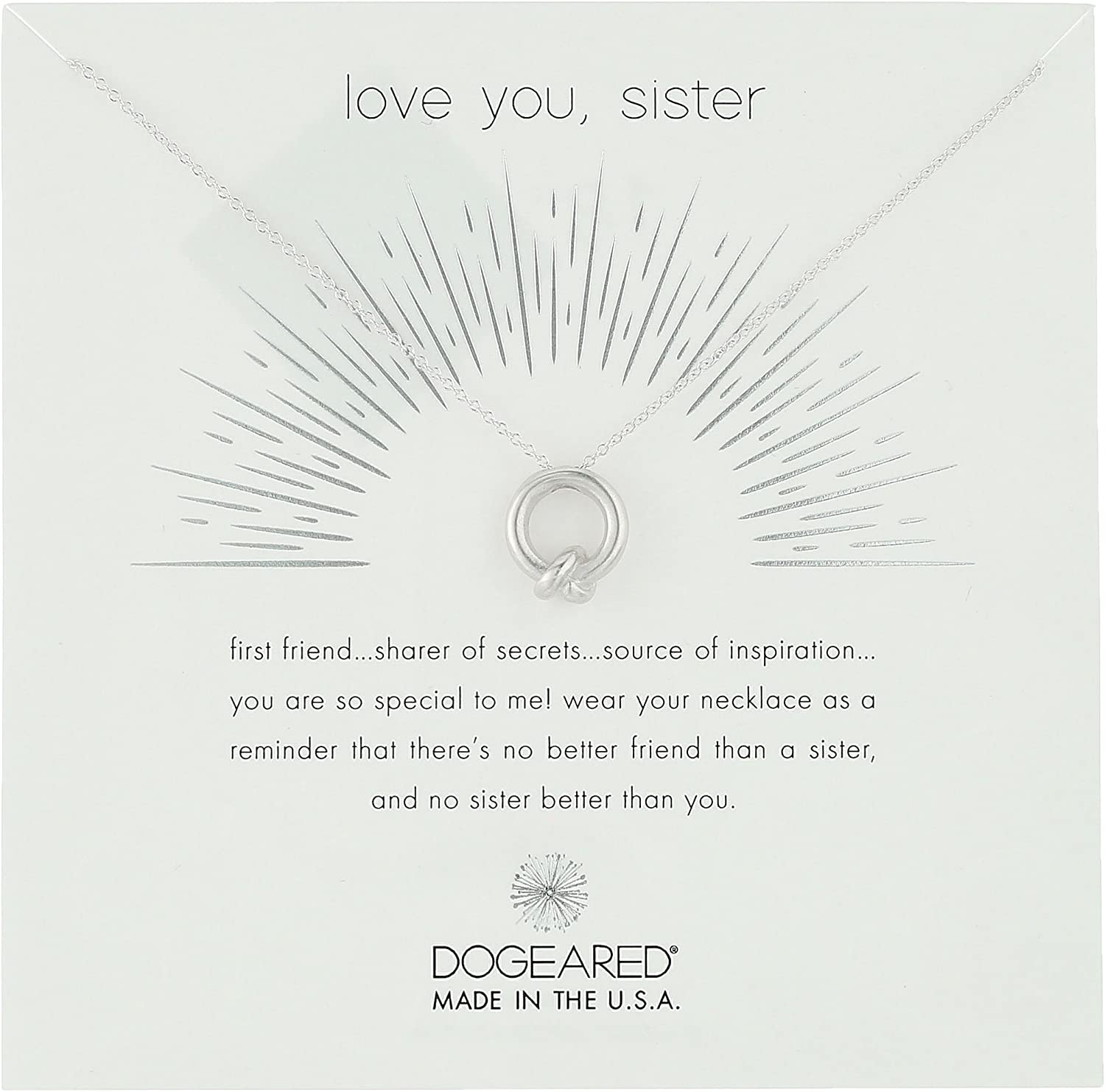 "Dogeared Love You, Sister, Together Knot Charm Chain Necklace, 16""+2"" Extender"