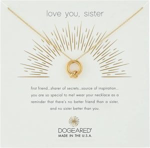 Dogeared Love You, Sister, Together Knot Charm Gold Dipped Necklace